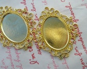 Lovely SOLID BRASS Oval cameo setting frame 2pcs Gold color