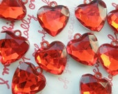 SALE Clear RED faceted Heart gem charms 10pcs Size-M
