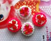 sale Miniature Strawberry Tart cabochons 4pcs Set A