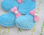 sale Flat Polka dots Heart Applique 4pcs Bow and Faux pearl B Blue