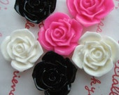 Rose Cabochons Set 6pcs 3 colors 21mm TA-A8 Black White Hot Pink