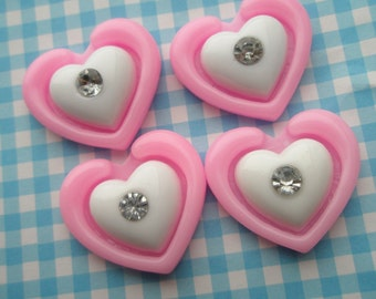 A Dollar SALE Pink Double Heart with rhinestone cabochons 4pcs MJ