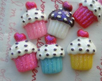 Glitter cupcake cabochons Set  6pcs
