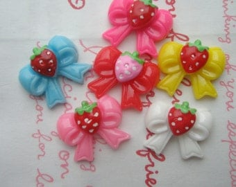 COLORFUL Strawberry pink bow cabochons 6 colors 6pcs