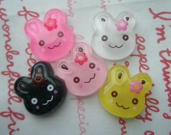 SALE Small Clear Bunny cabochons Set 5pcs