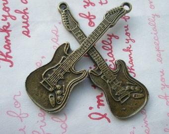 SALE Alloy Bronze metal Guitar charms 2pcs