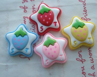 sale Chunky Star with Strawberry on top cabochons 4pcs SET B (ST)