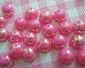 Shiny Hot Pink pearlized cabochons 9mm 25pcs