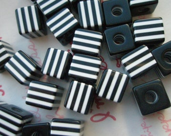 sale Simple stripey CUBE beads10mmx 9mm BLACK