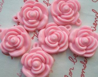 PINK Rose charms beads pendants 6pcs 22mm