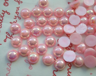 Shiny AB PINK Pearlized Round  cabochons Mix 7mm 8 grams