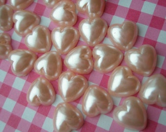 Baby Pink Pearlized Heartcabochons 50pcs 8mm