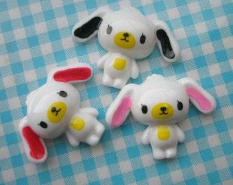 sale Sweet  WHITE puppy cabochons SET B 3pcs