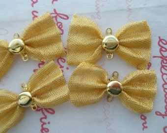 sale Big Wavey Bow Connector 4pcs GOLD plated (wavey bow)