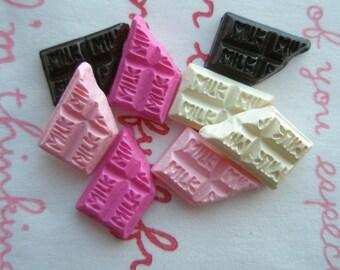 Tiny Mini Chocolate bar cabochon Set 4 colors 8pcs B