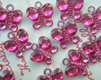 SALE Clear HOT PINK Butterfly gem charms 15pcs