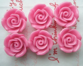 ME--11 High Quality  Rose cabochons 6pcs HOT PINK 18mm