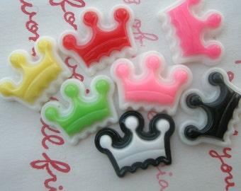 Colorful LACEY crown cabochons 7pcs 7 different colors