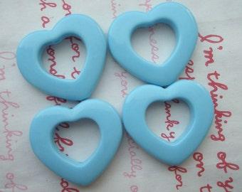 Open Heart  beads 4pcs Pastel BLUE