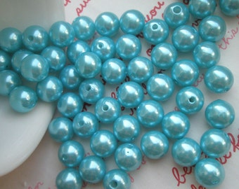 Light Blue Pearlized round BEADS 10mm 25pcs PD-001
