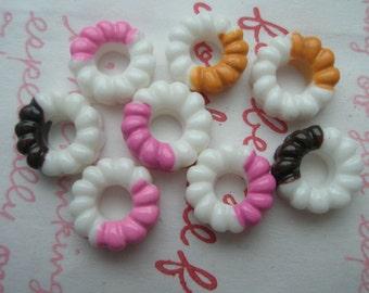Vanilla WHITE Miniature Doughnut cabochons 8pcs