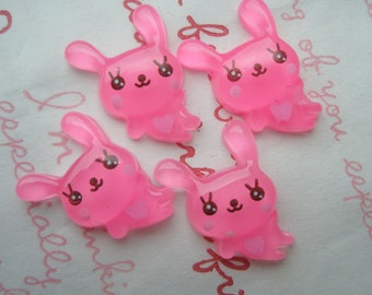 sale Clear bunny cabochons Set 4pcs HOT PINK