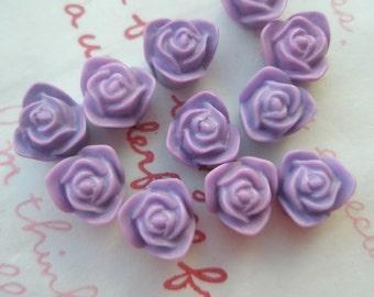 SALE Matte type Tiny rose cabochons 10pcs PD 002 9mm Lavender