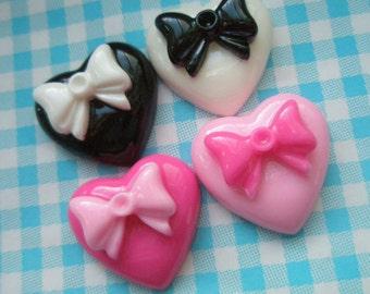 SALE Bow on Puffy Heart without rhinestones Set 4pcs