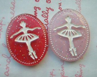Glitter Oval Ballerina Cabochons Set A  2pcs Pink Red 34mm x 26mm