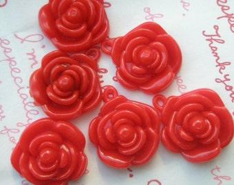 RED Rose charms beads pendants 6pcs 22mm 6pcs