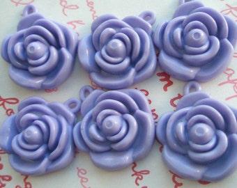Pastel Lavender Rose charms beads pendants 6pcs 22mm