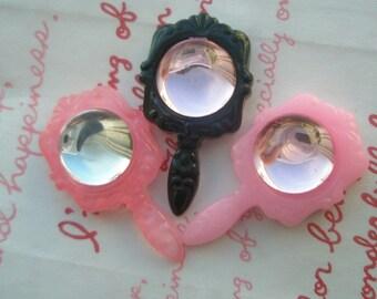 SALE Fake Mini Mirror cabochons Set 3pcs 3 colors