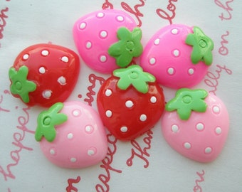 sale Strawberry cabochons Set D 6pcs