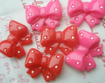 SALE Polka dots Princess Lolita bow cabochons Red and Hot Pink 6pcs