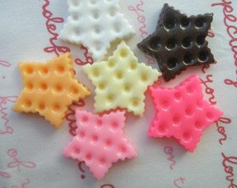 sale Star shaped cookie biscuit cabochons 6pcs SET B