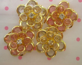 sale CLEAR Fancy Flower cabochons Set 4pcs GOLD Frame MIX