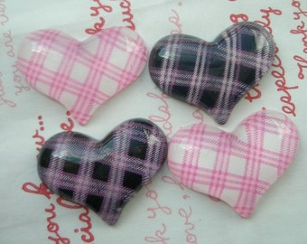 sale Plaid heart  cabochons Set 4pcs Black White