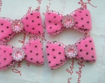 Fluffy Polka dots  bow with rhinestone in the middle appliques SET 4pc Hot Pink