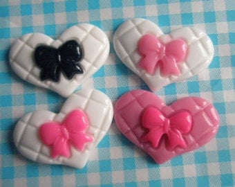 sale Bow on Flat Heart cabochons Set 4pcs
