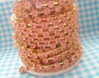 Pink rhinestone chain (Gold tone ) 4mm stone 50cm