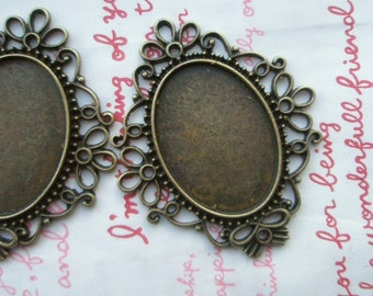Lovely SOLID BRASS Oval cameo setting frame 2pcs Dark Bronze