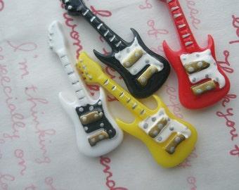 SALE Colorful Guitar  Guitar cabochons SET 4pcs Black White Yellow Red