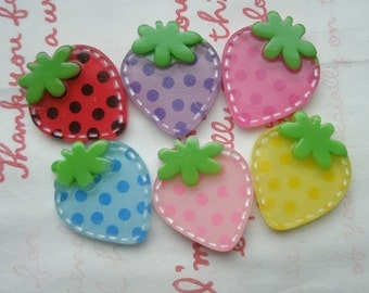 Funky Stitchy Dotted Strawberry cabochons 6pcs