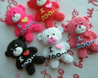 sale I HEART ZOO Teddy bear cabochons SET 5pcs