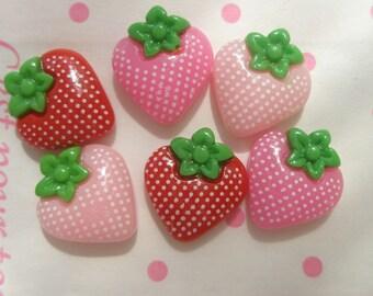 sale Strawberry cabochons (POLKA DOTS) 6pcs
