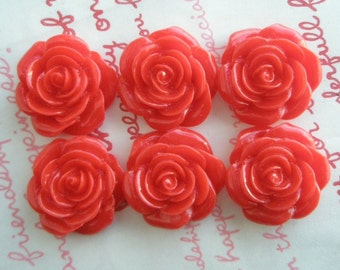 SALE RED rose cabochons 6pcs MJ 001 22mm