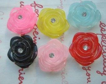Clear Rose cabochons with rhinestone Set 6pcs