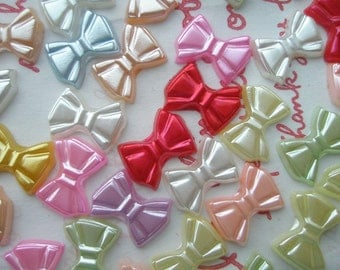 sale Assorted Pearlized Colorful Bow cabochons 30pc 13mm x 9mm