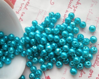 Teal Blue Pearlized round BEADS 7mm 50pcs MJ