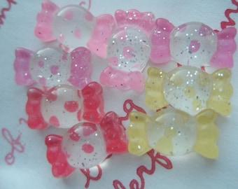 sale Tiny Mini Clear Glitter Polka dots Candy cabochons Set 8pcs